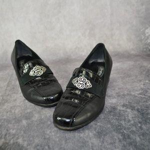Brighton Artist Black Embossed Metal Loafers